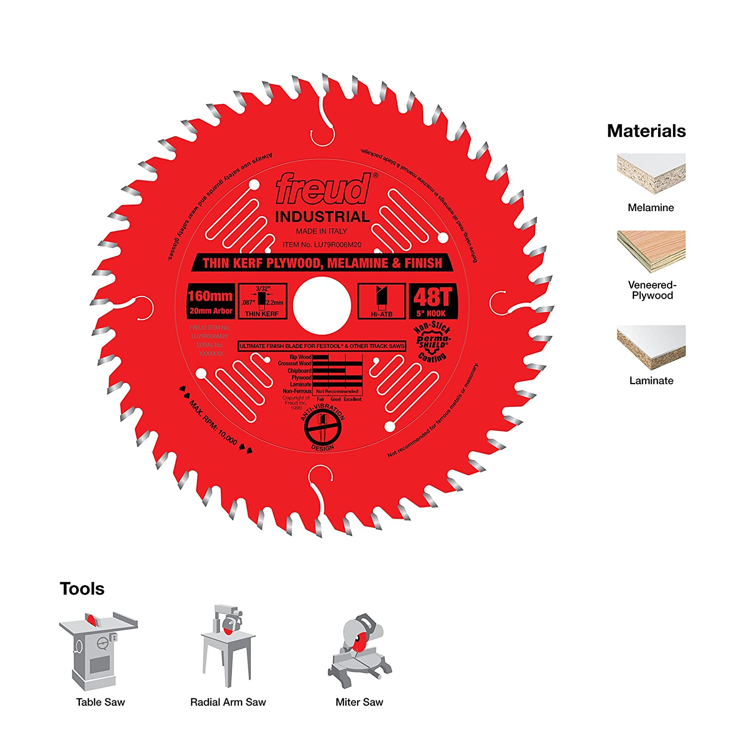 Freud 160mm x 48t mm thin kerf ultimate plywood melamine blade freud 160mm x 48t mm thin kerf ultimate plywood melamine blade lu79r006m20 circular saw blades amazon greentooth Gallery