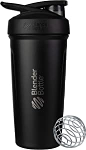 BlenderBottle Strada Insulated Shaker Bottle with Locking Lid, 24-Ounce, Black