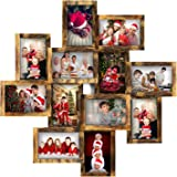 Jerry & Maggie - Photo Frame 24x24 Square Storm Eye PVC Picture Frame Selfie Gallery Collage Wall Hanging for 6x4 Photo - 12 Photo Sockets - Wall Mounting Design (Gold Rusted)