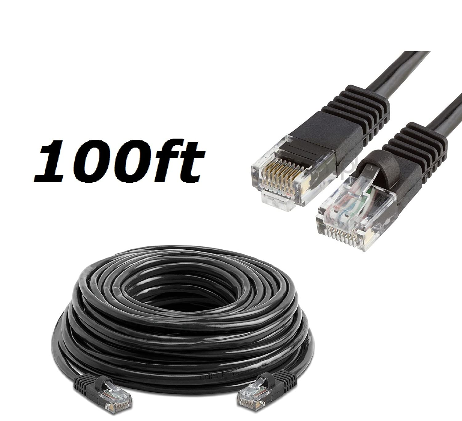 PS3 Xbox 360 High Speed Internet DSL//Cable Internet Mac CableVantage Black 100FT 100 Ft 100 Long CAT5 Enhanced CAT5E RJ45 Patch 350MHz ETHERNET Network Cable for PC Xbox PS2 Laptop