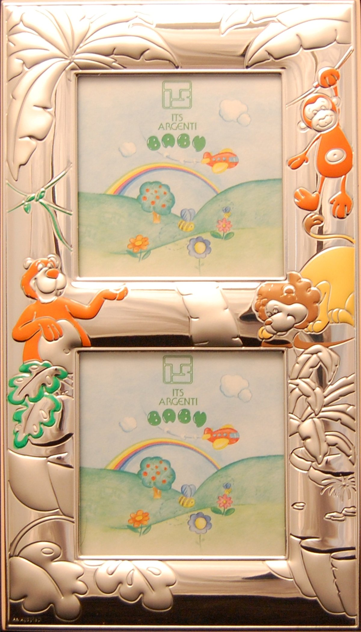 CHILDREN DOUBLE STERLING SILVER PICTURE FRAME - The JUNGLE . Made in Italy