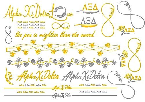 Amazon A List Greek Metallic Temporary Tattoos Alpha Xi Delta