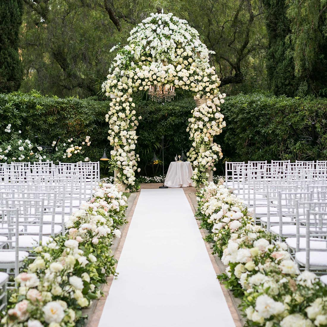 Healon 10 x 10 ft Wedding Aisle Runner White Aisle Runner Rug with Pull  String for Wedding Ceremony and Party Floral