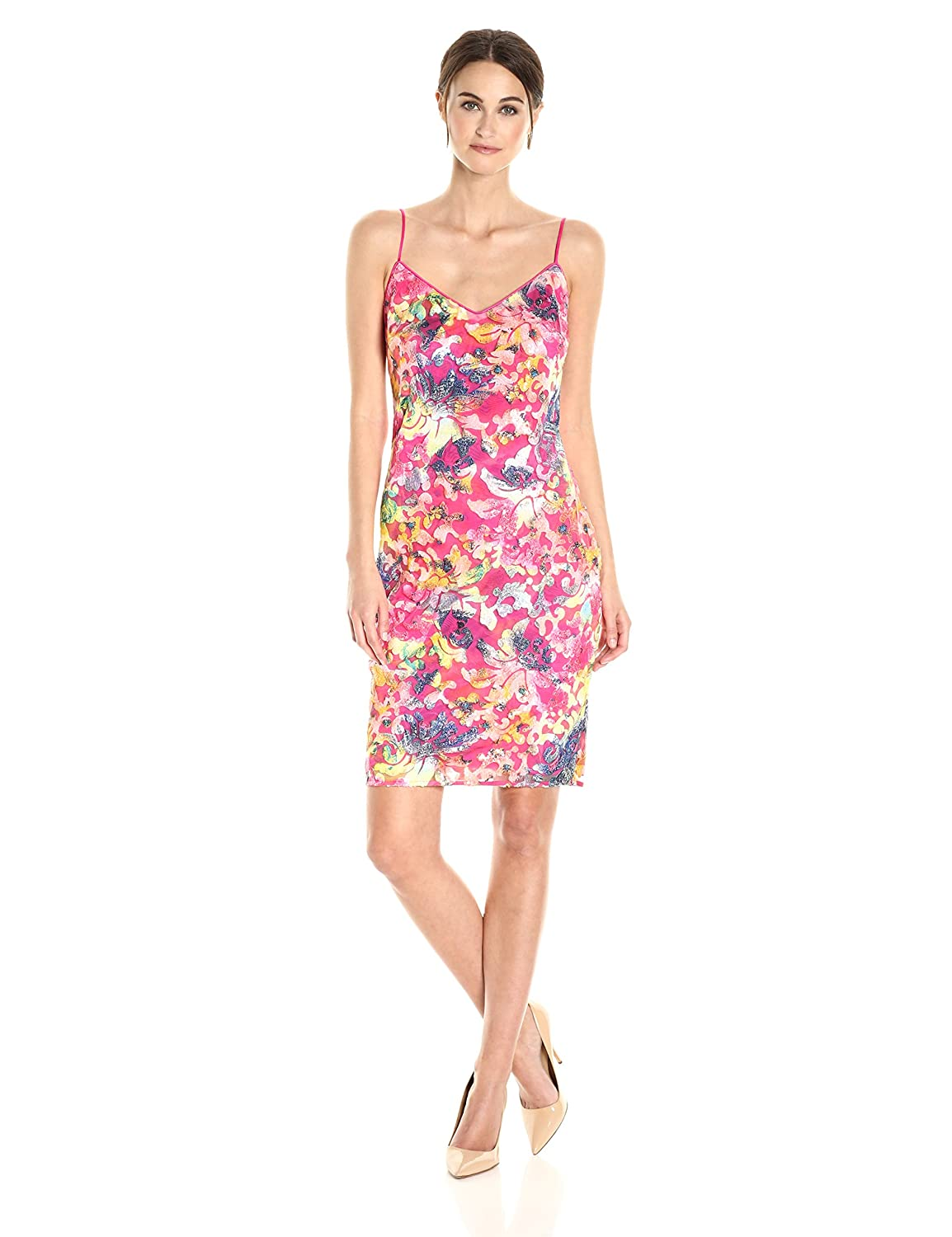 Bright pink Laundry by Shelli Segal Womens Printed Burno Out Sequin Cocktail Dress