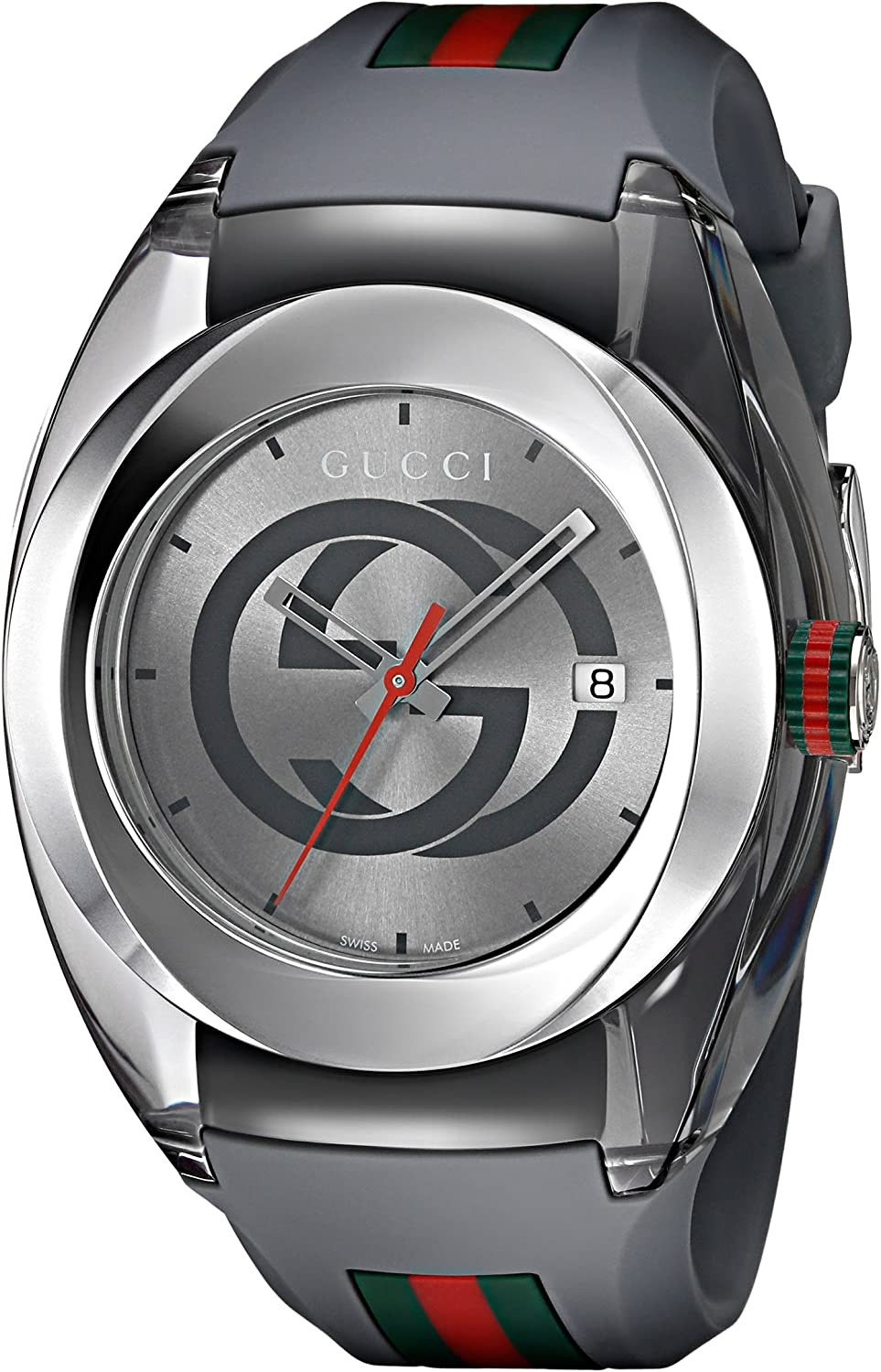 Gucci Swiss Quartz Stainless Steel and Rubber Casual Grey Men's Watch(Model: YA137109)