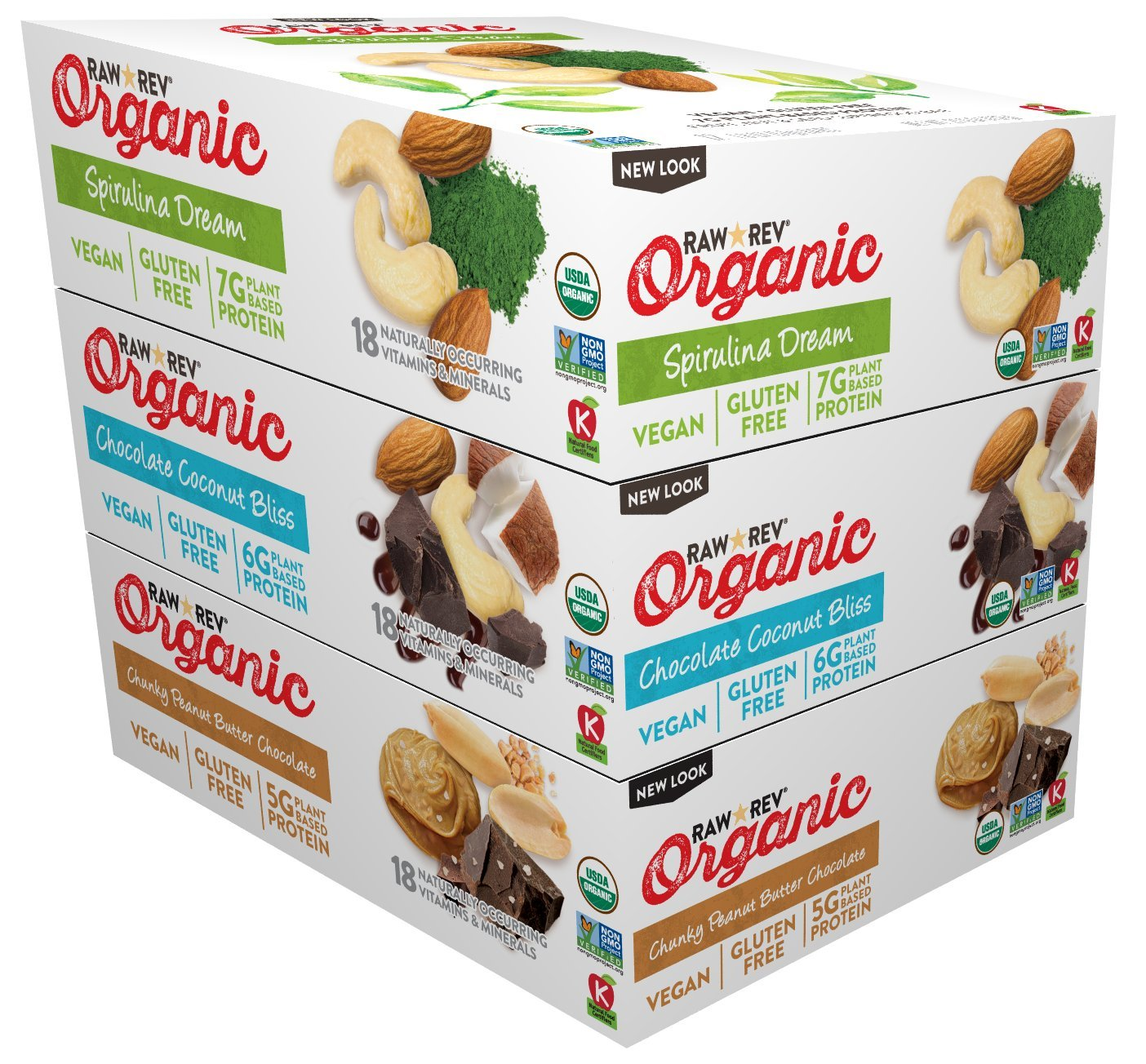 Raw Rev Organic Vegan, Gluten-Free Fruit, Nut, Seed Bars – Organic Best Sellers Variety 3-Pack (Spirulina Dream, Chocolate Coconut Bliss, Chunky Peanut Butter Chocolate)