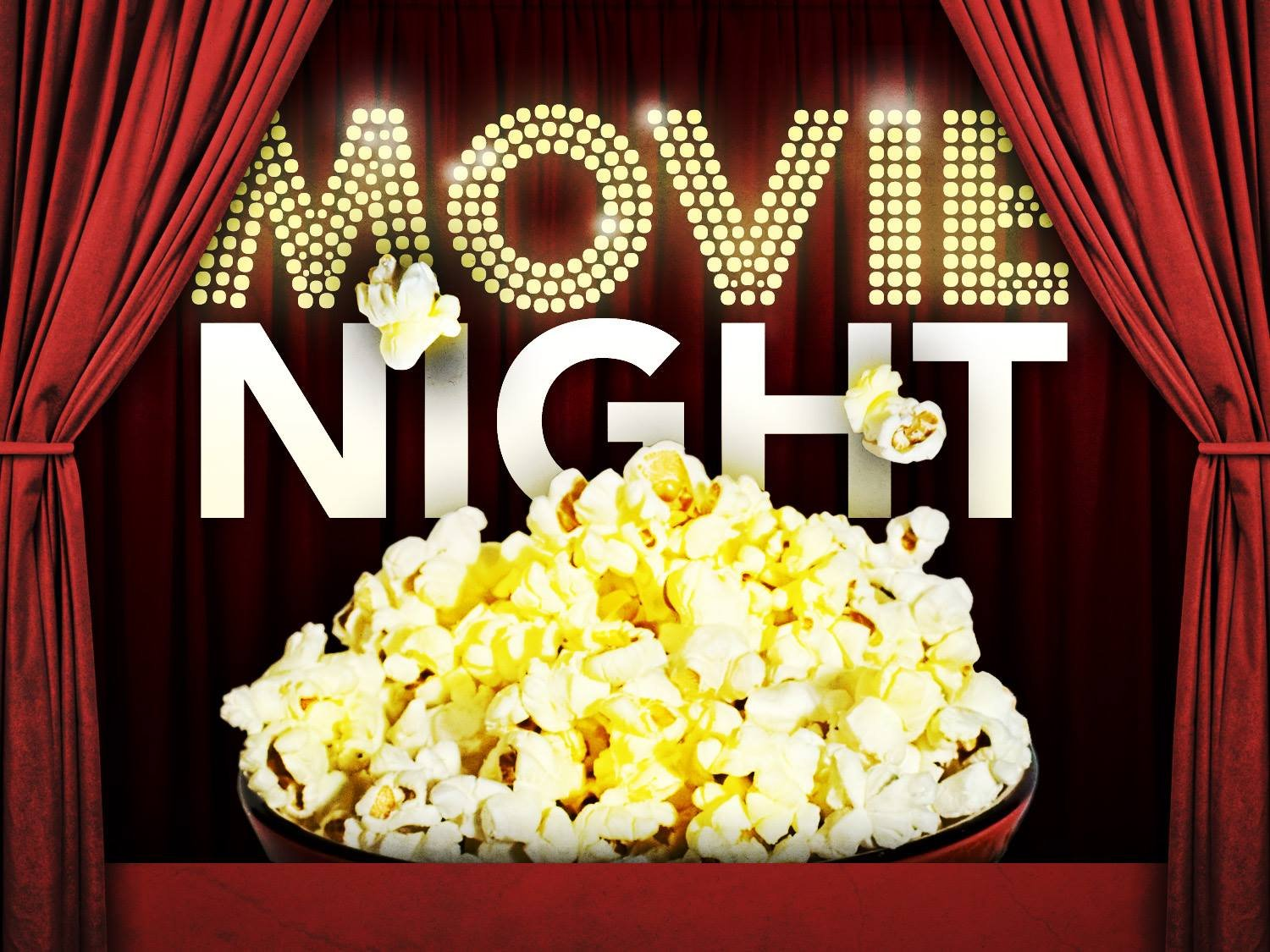 MOVIE AND POPCORN NIGHT Birthday Party Edible Frosting Image 1/2 sheet Cake Topper