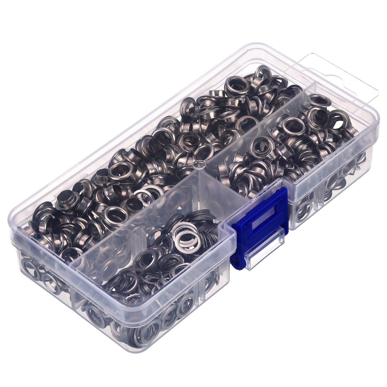 Cuero Lona con Caja Transparente 500 Set Plateado 1// 4 Pulgada de Di/ámetro Interior Ojetes Arandelas para Ropa