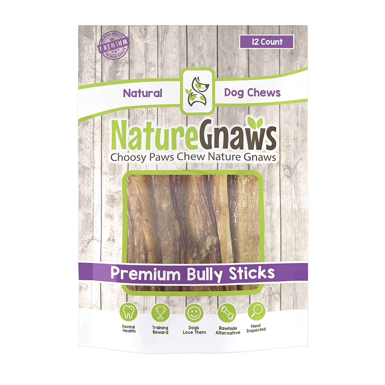 Nature Gnaws Jumbo Bully Sticks – 100 Natural Long Lasting Chews for Large Dogs