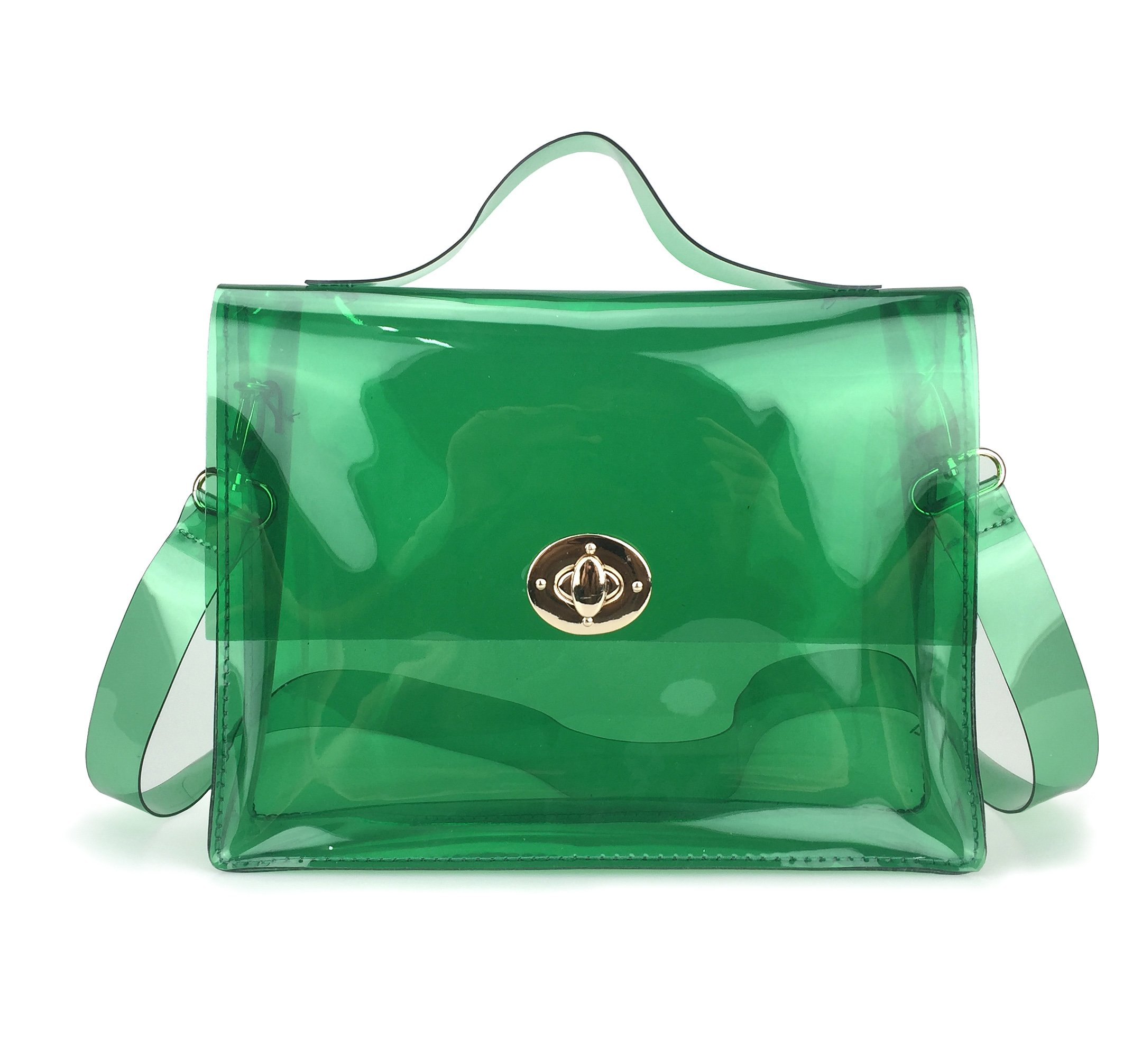 Clear Bag with Turn Lock Closure Cross Body Bag Women's Satchel Transparent Messenger Shoulder Handbag (Green) by Hoxis (Image #1)
