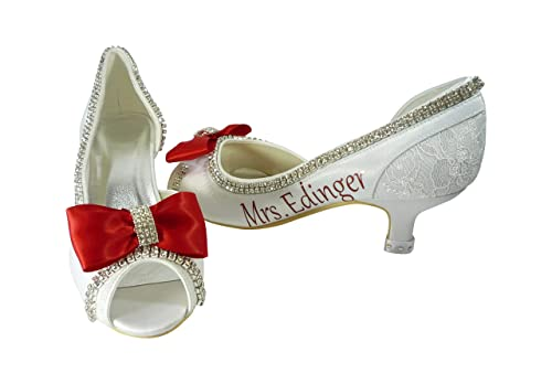 Amazon Com Wedding Shoes With Bows Ivory Red White In 2 3 5 4 5 Inch Heel Handmade