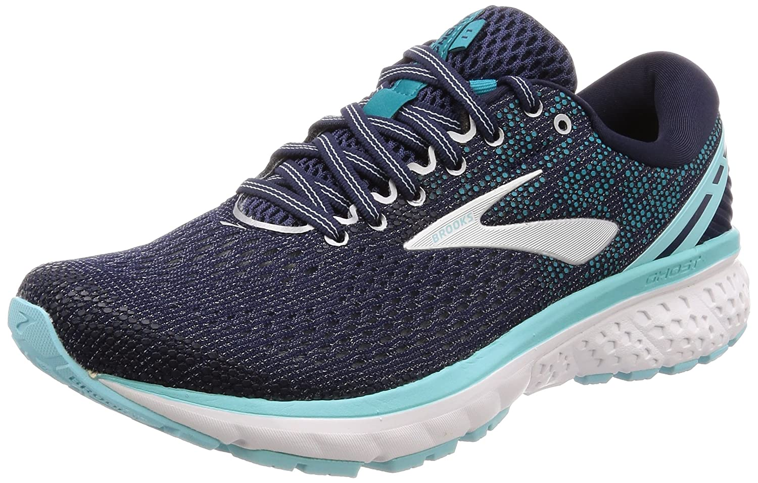 Brooks Womens Ghost 11 Running Shoe B077QN3LCV 8 B(M) US|Navy/Grey/Blue