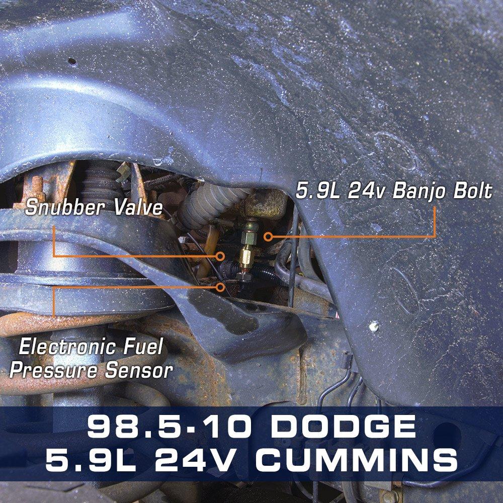 Glowshift Fuel Pressure Banjo Bolt Adapter For Dodge Ram 99 Filter Housing 24v 59l Cummins Automotive