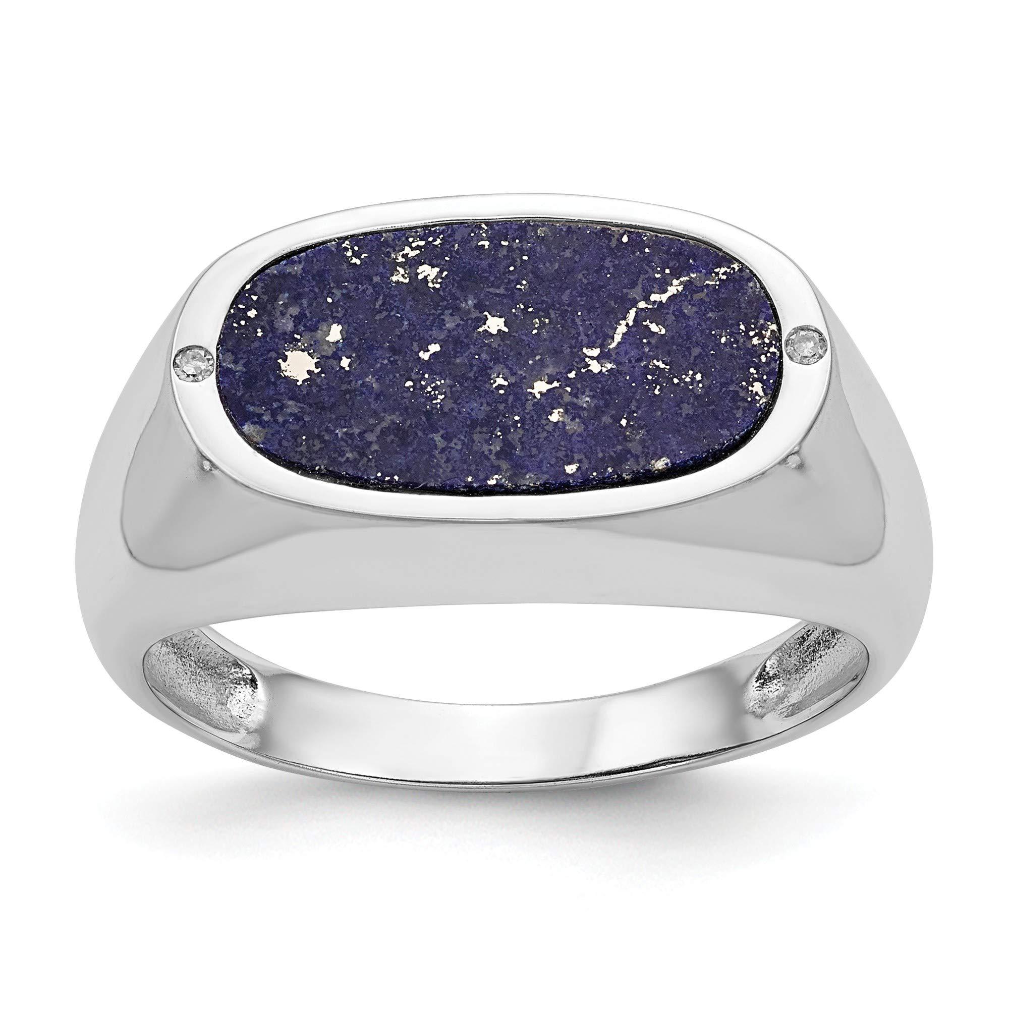 Bonyak Jewelry 14K White Gold Blue Lapis Diamond Ring - Size 10