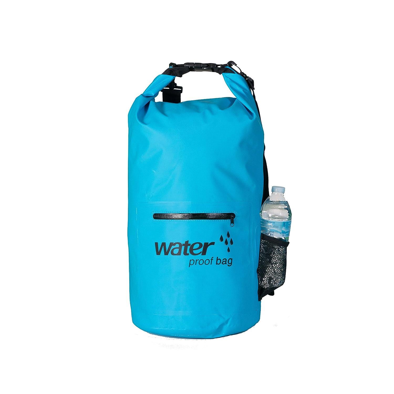 防水ドライバッグバックパックwith外部ファスナーポケット、ボトルホルダー、ダブルショルダーストラップ – Xtreme Adventurer B0762VJKSH  ブルー 20L