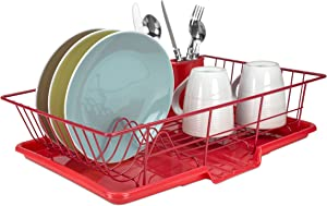 Home Basics Vinyl Coated Steel Dish Drainer, Dish Drying Rack with Drip Tray & Utensil Holder Cup for Kitchen Countertop Sink, Red