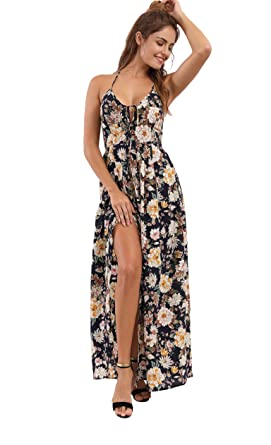 4673a56574 Image Unavailable. Image not available for. Color: JOAUR Women Summer Beach  Chiffon Backless Floral Print Split Maxi Party Dress