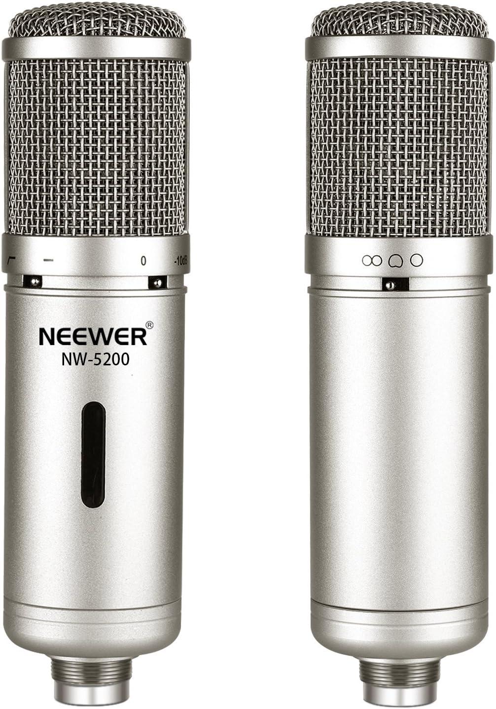 Neewer Kit de Microphone /à Condensateur Diaphragme Large pour Radiodiffusion et Enregistrement: NW-5200 Mic Cardio/ïde /à Port Lat/éral Support Antichoc Argent/é /Étui Capuchon en Mousse Anti-Vent