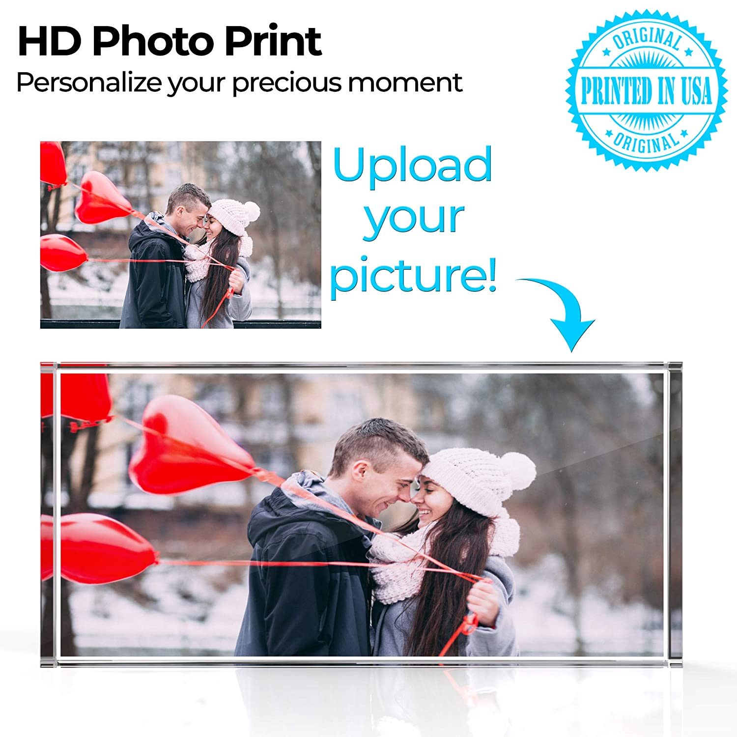Personalized Photo, Custom Photo, Name Tag Plate with Clear 3D Effect Create Your OWN for Home Office Kitchen Gift Best Gifts for Wedding and Anniversary (4 Color Process)