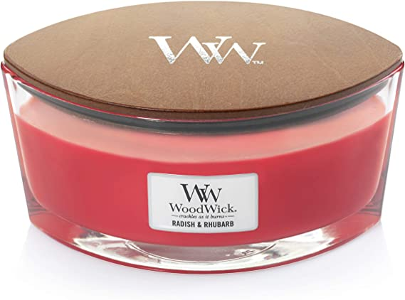 Amazon.com: WoodWick Ellipse Scented Candle with Hearthwick Flame, Radish and Rhubarb: Home & Kitchen