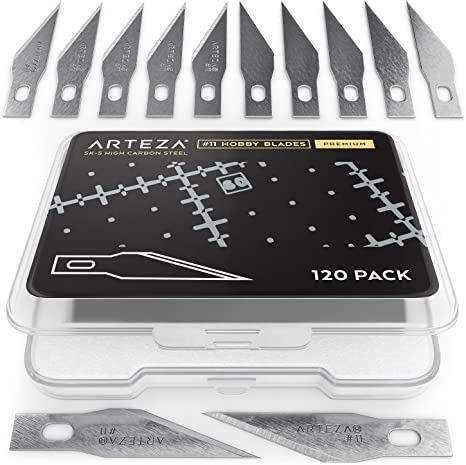 Arteza Cuchillas de bisturí para manualidades | Pack de 120 cuchillas de repuesto con estuche protector | Hojas de cutter # 11 para artesanía: Amazon.es: Hogar