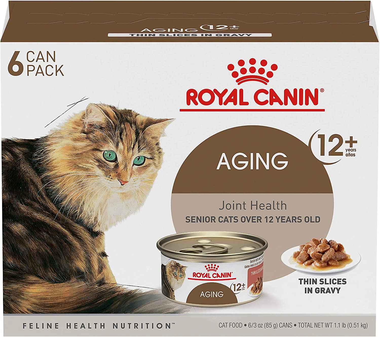 Amazon Com Royal Canin Feline Health Nutrition Aging 12 Loaf In Sauce Canned Cat Food 5 8 Oz Can Pack Of 6 Pet Supplies