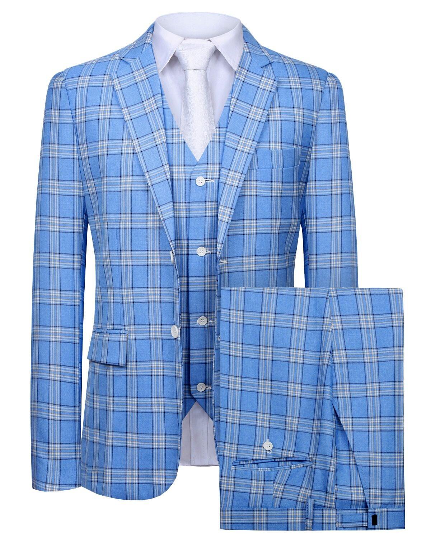 Hanayome Men's 3 PC Casual Stylish Suit Blazer Jacket Tux Vest & Trousers SI92£¨Deepblue,50L£