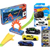 Hot Wheels Drop & Go Experiment Zoom in Pro POV Video Recorder Track Car 5-Pack Bundled with Nightburnerz VW Beetle…