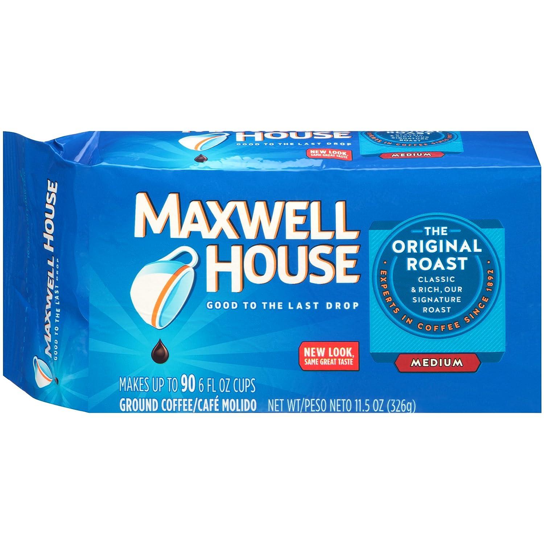 B0029JU4VU Maxwell House Original Medium Roast Ground Coffee (11.5 oz Bags, Pack of 12) 81n1ZPaxM5L