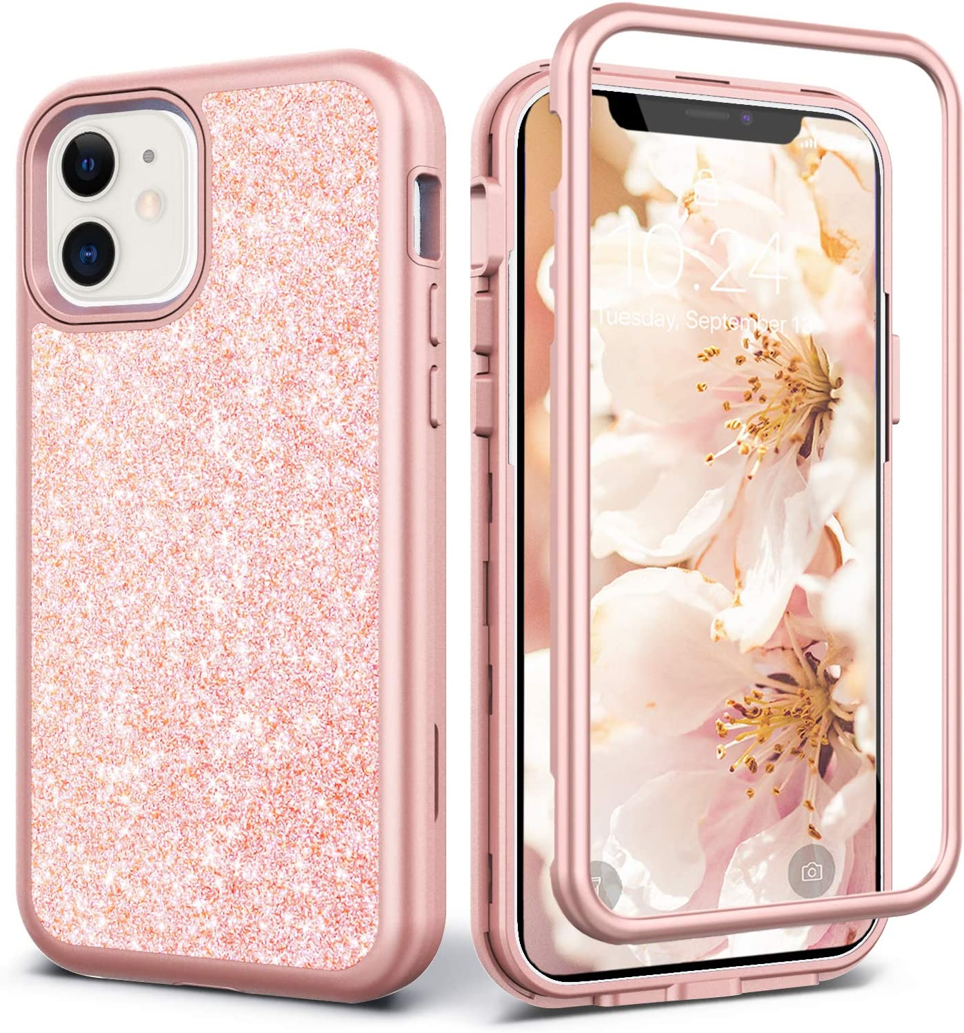 Coolwee Glitter Full Protective Case Compatible with iPhone 12, Compatible with iPhone 12 Pro Heavy Duty Hybrid 3 in 1 Rugged Shockproof Women Girls Rose Gold for Apple iPhone 12 Pro 6.1 inch