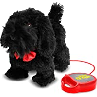 Meva PawPals Kids Walking and Barking Puppy Dog Toy Pet with Remote Control Leash ... (Black)