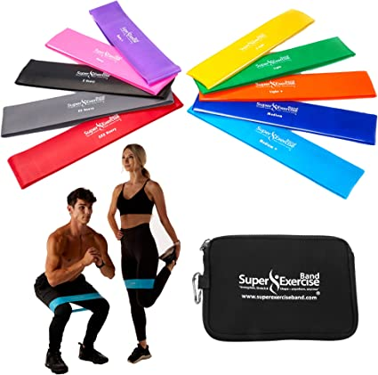 Natural Latex Workout Bands(Green) BSPORTY Trampoline Resistance Loop Exercise Bands for Home Fitness Strength Training Physical Therapy Stretching