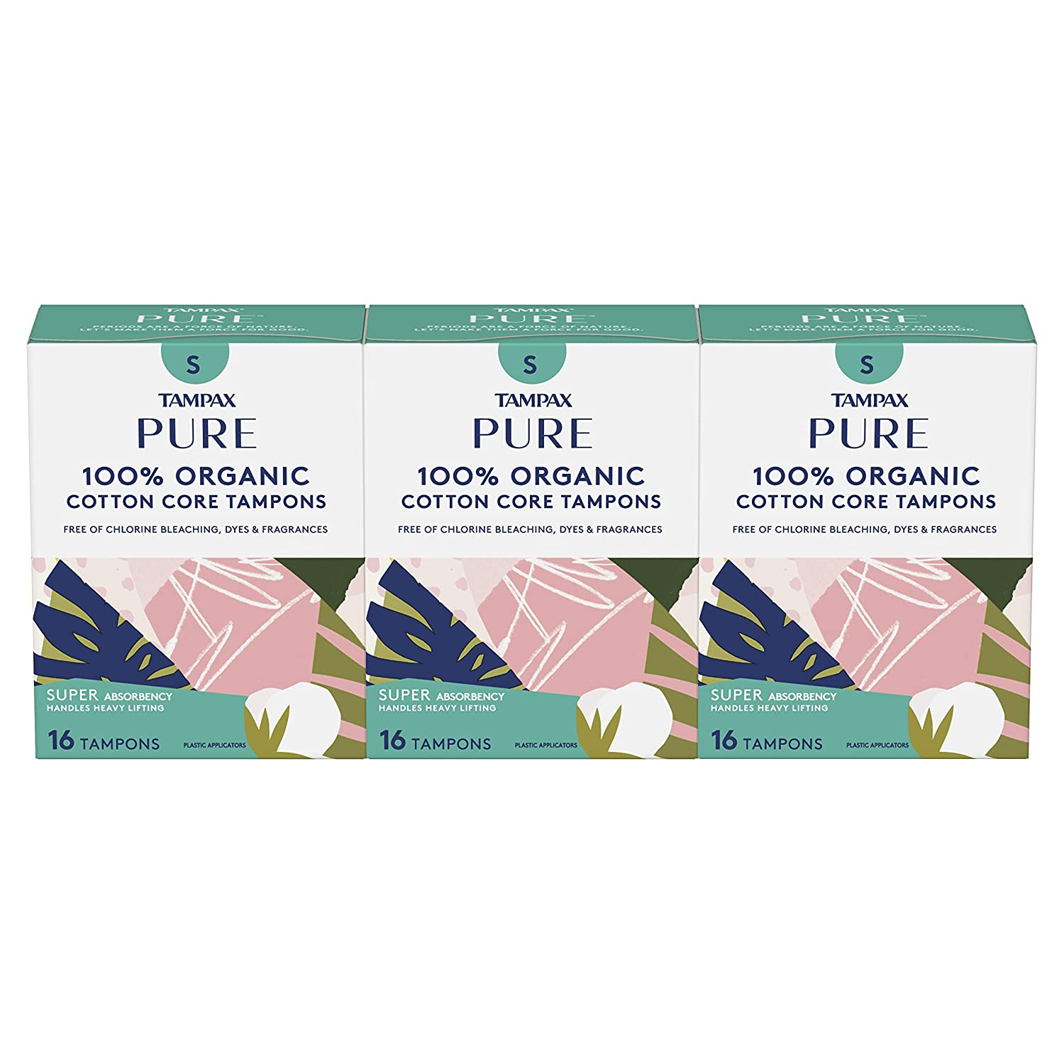 Tampax Pure Organic Tampons, Cotton & Chlroine-Free, Super Absorbency, Unscented, 16 Count - Pack of 3 (48 Count Total)