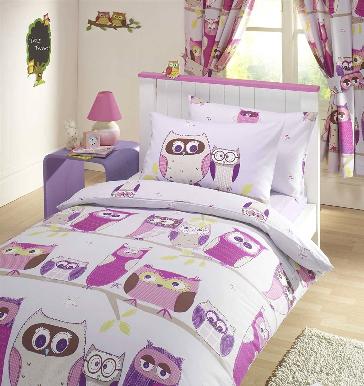 Owl Bedroom Curtains Hoot Owl Lilac Duvet Cover Set Single Amazoncouk Kitchen Home