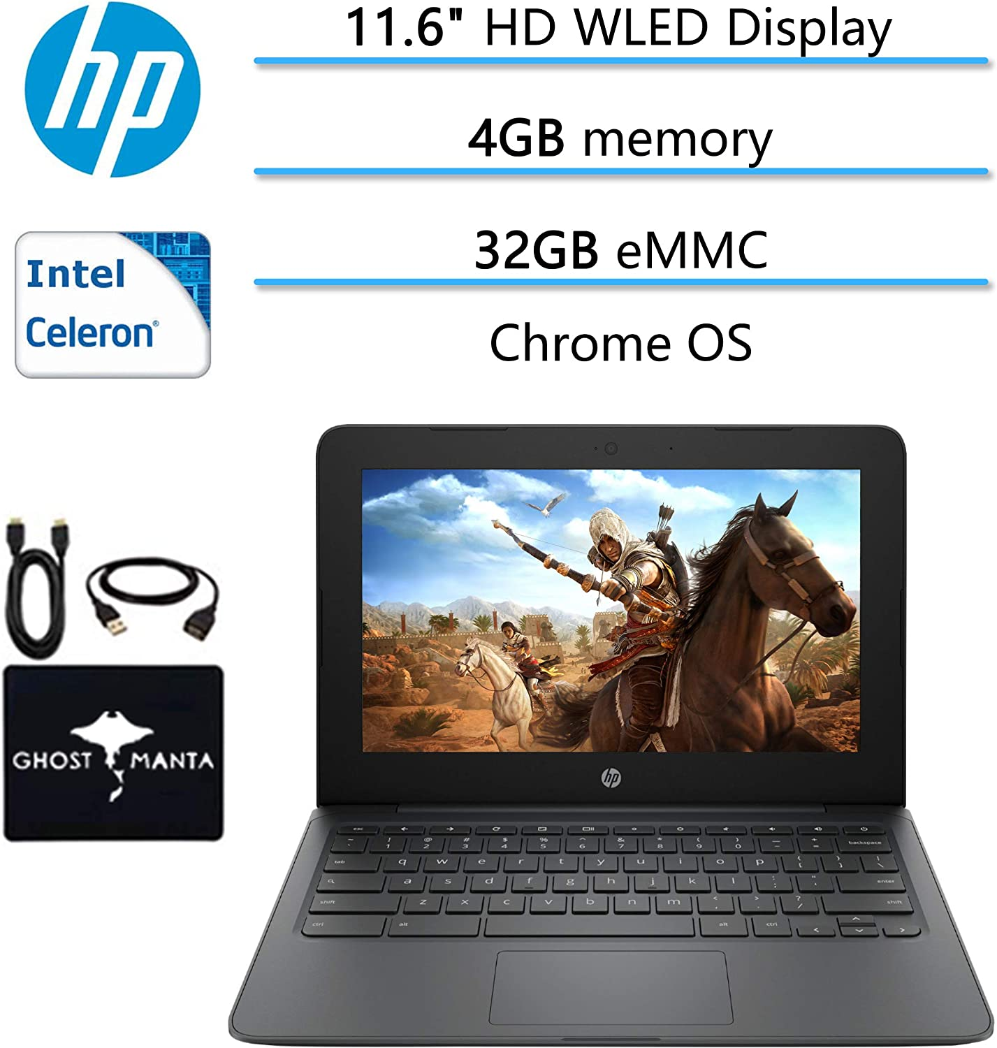 "2020 Newest HP Chromebook 11.6"" HD Laptop for Business and Student, Intel Celeron N3350, 4GB Memory, 32GB eMMC Flash Memory, Webcam, USB-C, WiFi , Bluetooth, Chrome OS, w/Ghost Manta Accessories"