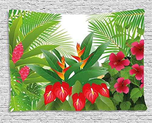 asddcdfdd Leaf Tapestry, Tropical Exotic Forest Hibiscus Red Ginger and Anthurium Flowers, Wall Hanging for Bedroom Living Room Dorm, 80 W X 60 L Inches, White Dark Green and Hot Pink