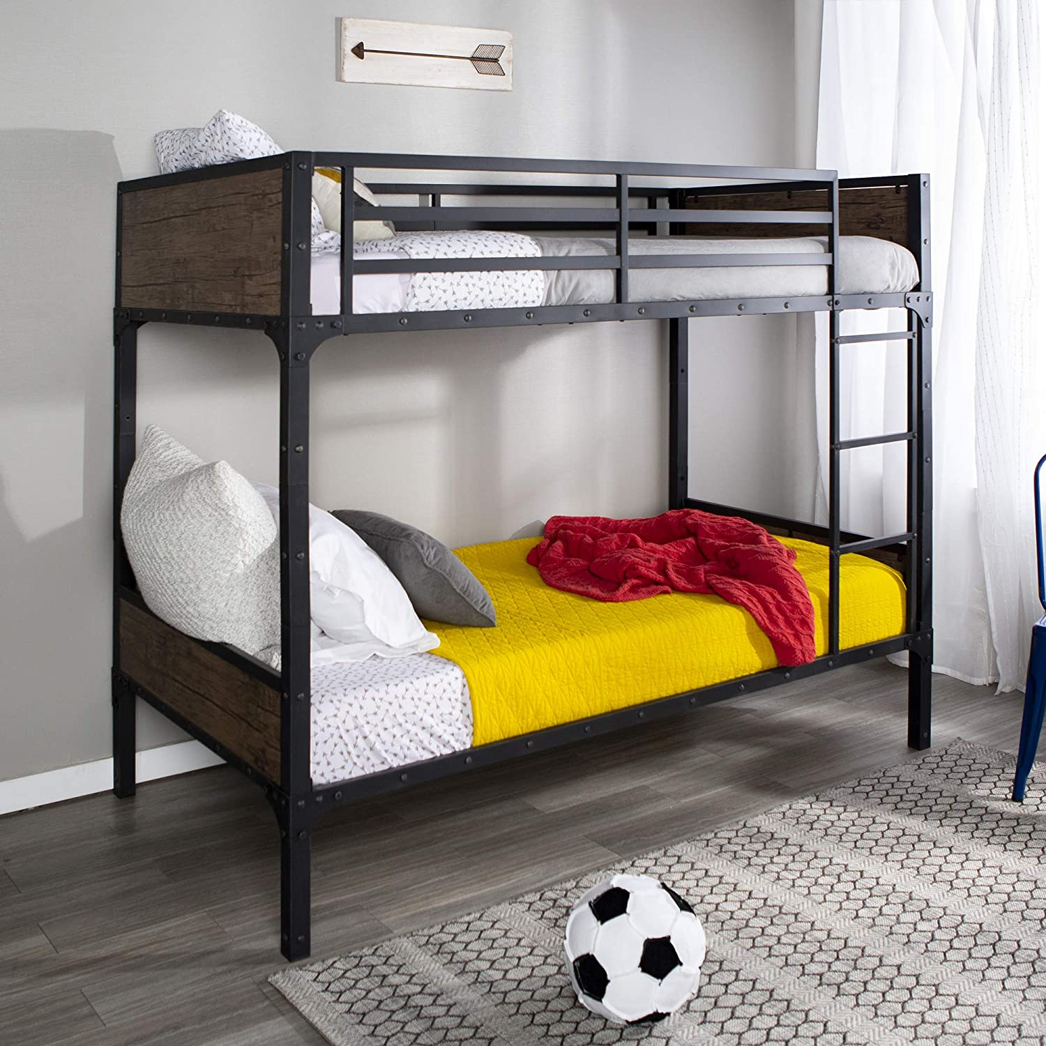 WE Furniture Rustic Wood and Metal Twin Space-Saving Bunk Bed with Ladder