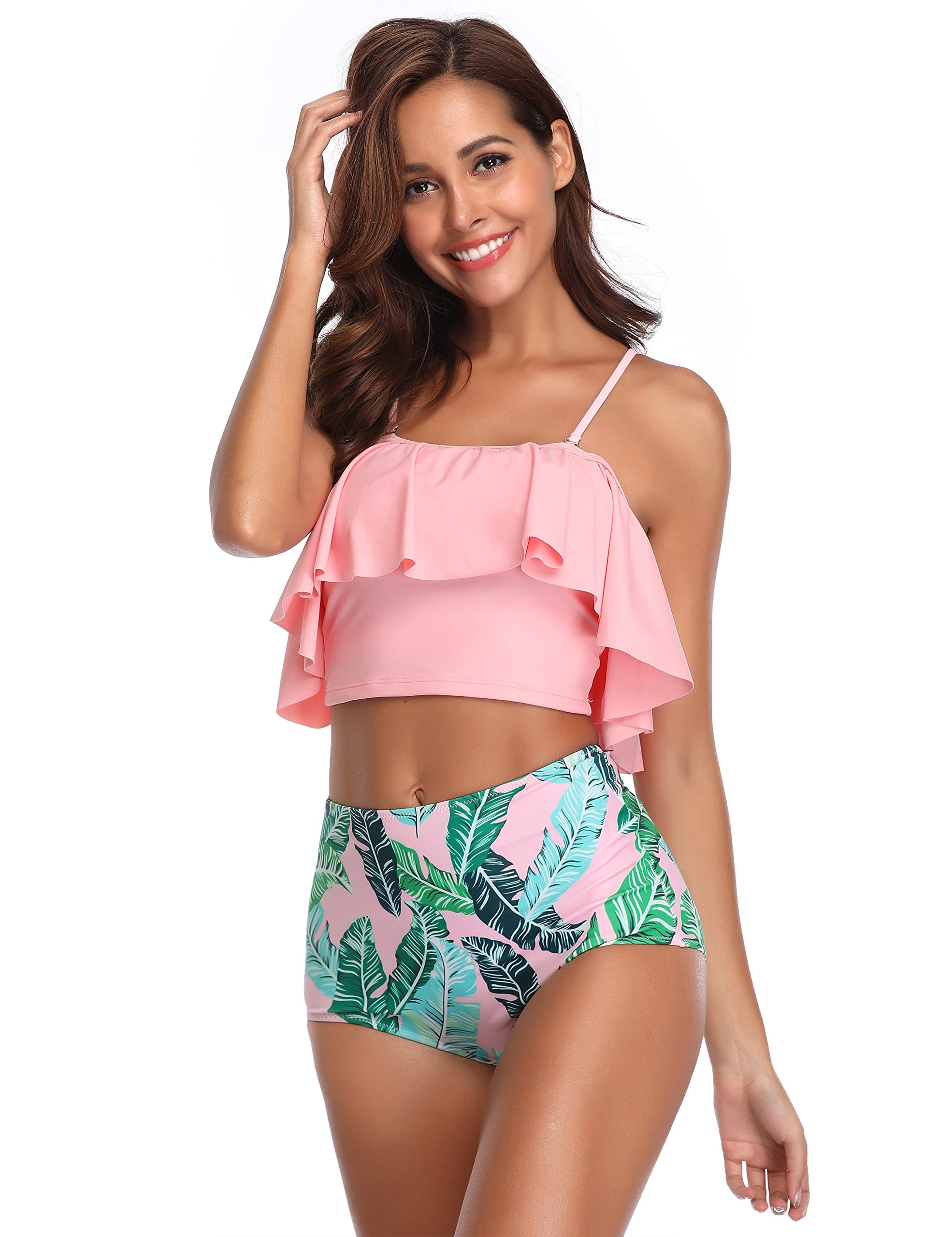 MarinaVida Women Off Shoulder Ruffle Swimsuit Crop Top Two Piece Bathing Suit by MarinaVida (Image #4)