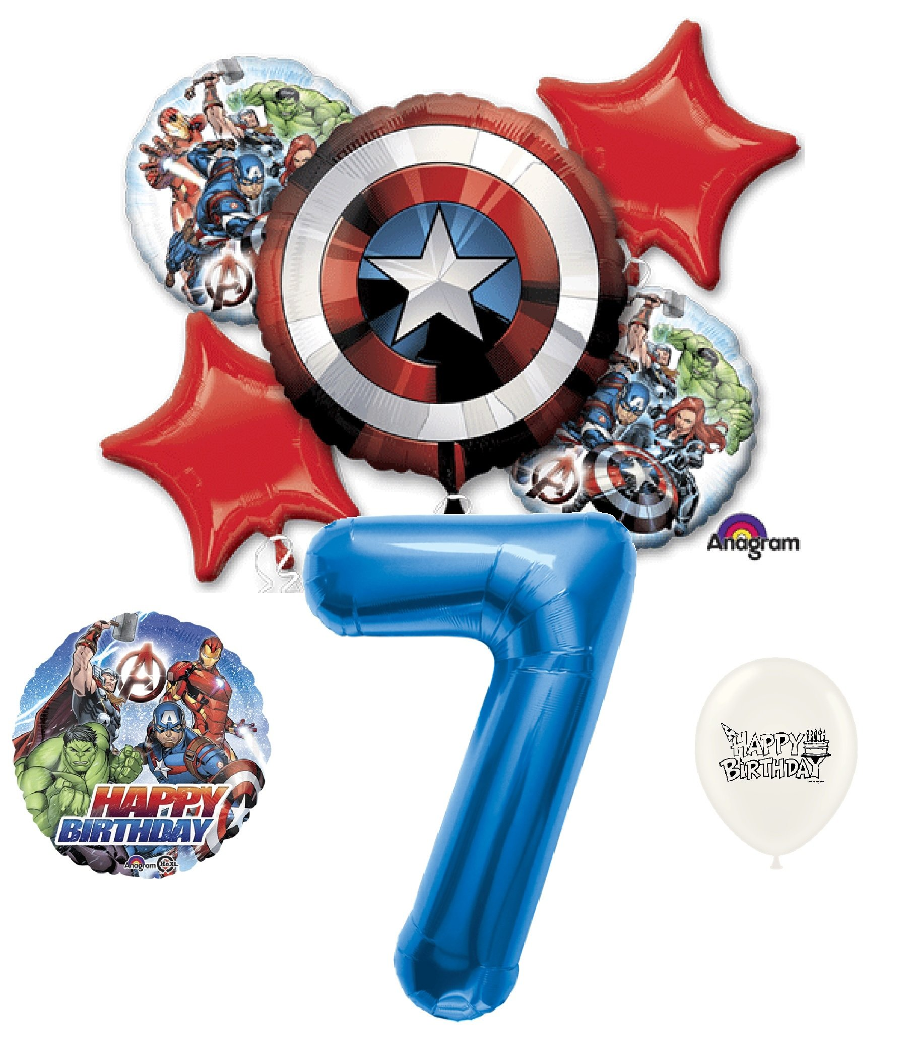 7th Birthday Blue Number Avengers Captain America Shield Balloons Bouquet Bundle