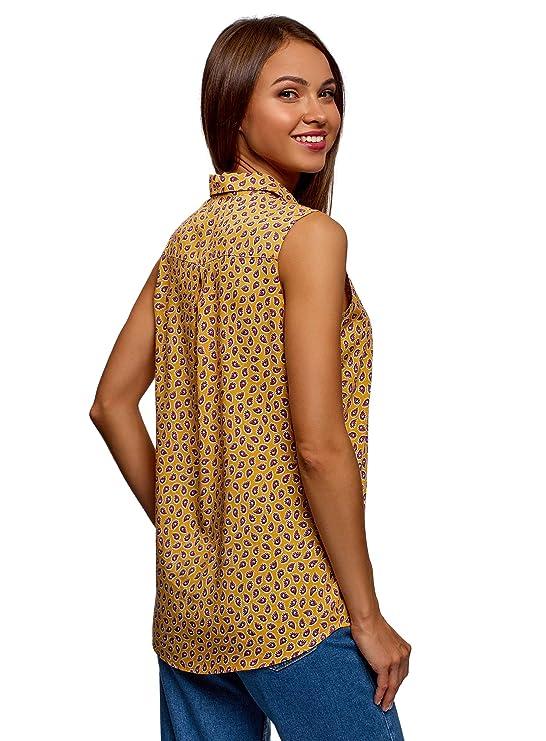 oodji Ultra Mujer Blusa de Viscosa con Cuello de Camisa: Amazon.es: Ropa y accesorios