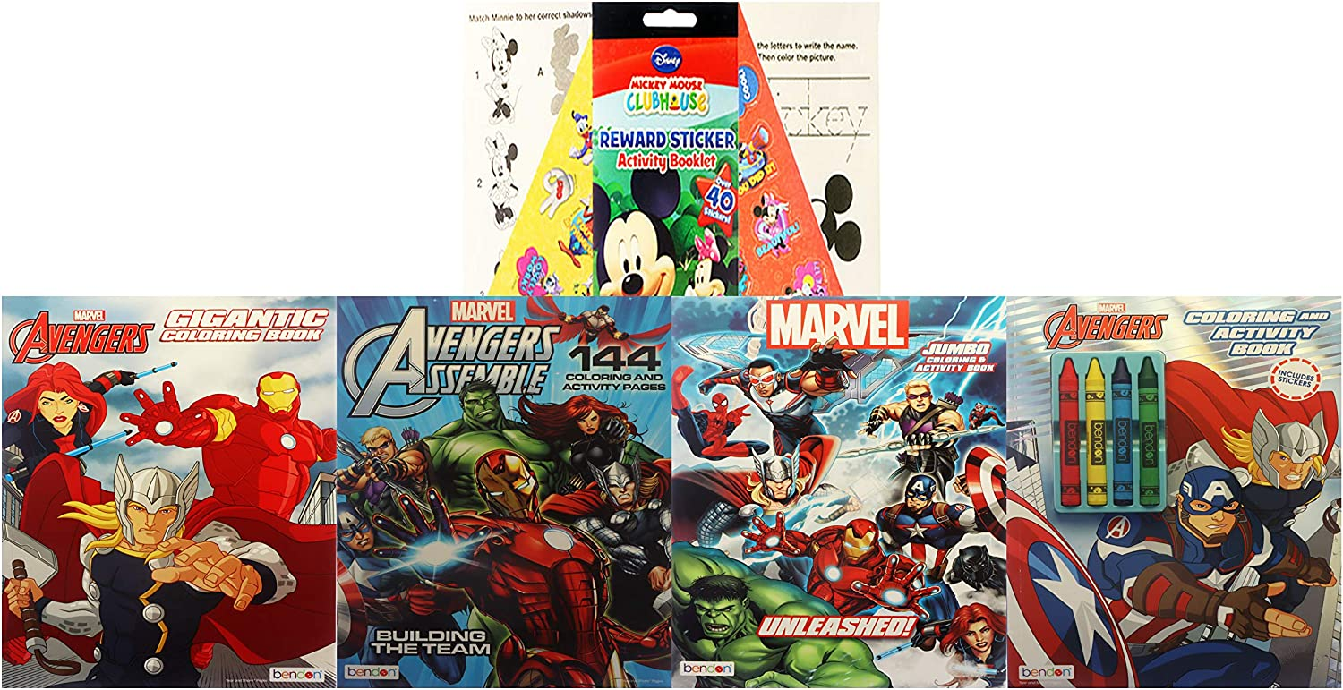 Marvel Avengers Super Coloring Bundle With Crayons Stickers Captain America Thor Hulk Iron Man And A Mickey Mouse Activity Pad Amazon Co Uk Kitchen Home