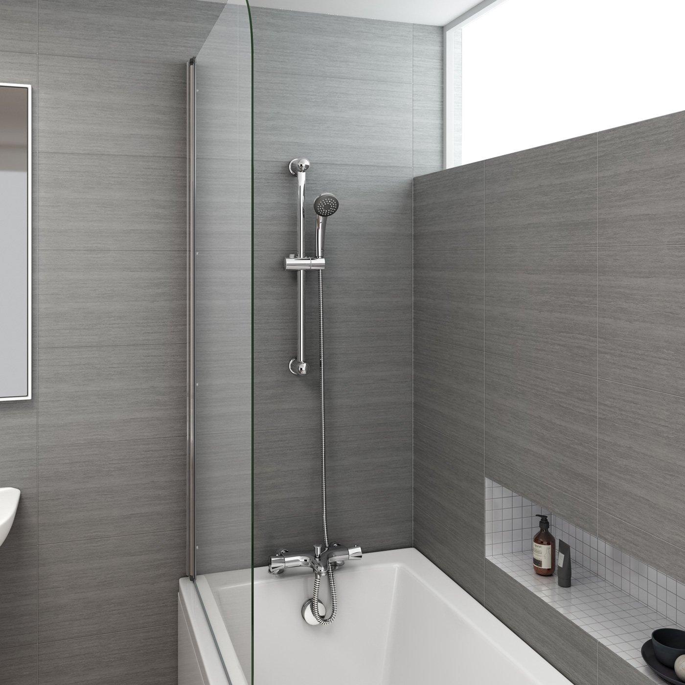 Chrome Thermostatic Shower Mixer Valve Bath Deck Tap Riser Rail + ...