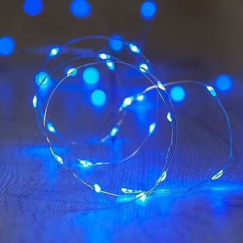 20er LED Draht Micro Lichterkette blau Batteriebetrieb Lights4fun ...