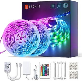 Tiras LED RGB de 10M, kit de 2 tiras marca TECKIN a prueba de agua con