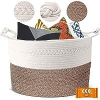 "Piper and Olive Large Woven Basket - Large Baskets for Blankets - Extra Large Storage Baskets Woven - Large Blanket Basket Living Room - Cotton Rope Basket - Toy Basket - XXXL 22"" x 22"" x 14"""