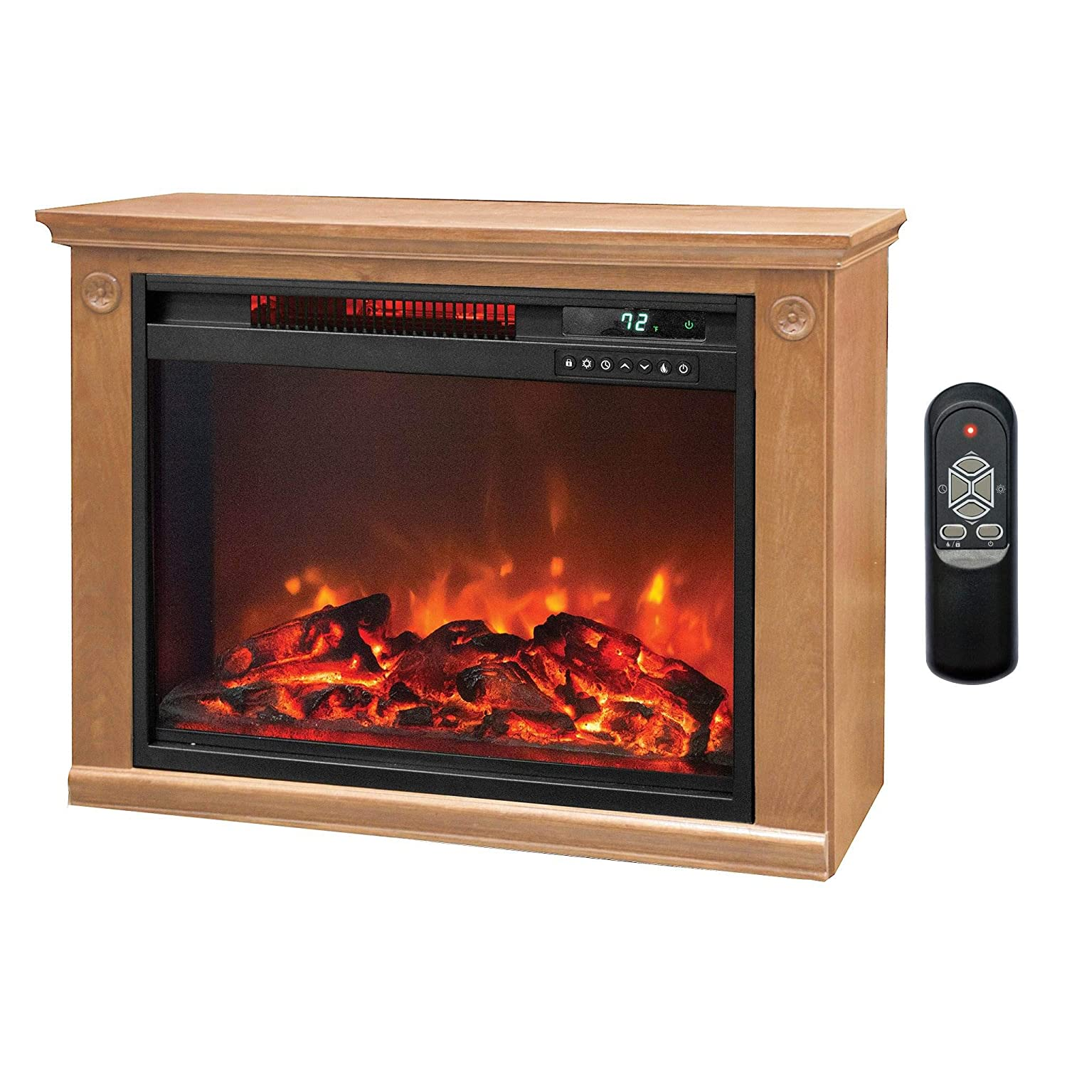 Lifesmart 3 Element Quartz Infrared Electric Portable Fireplace Space Heater