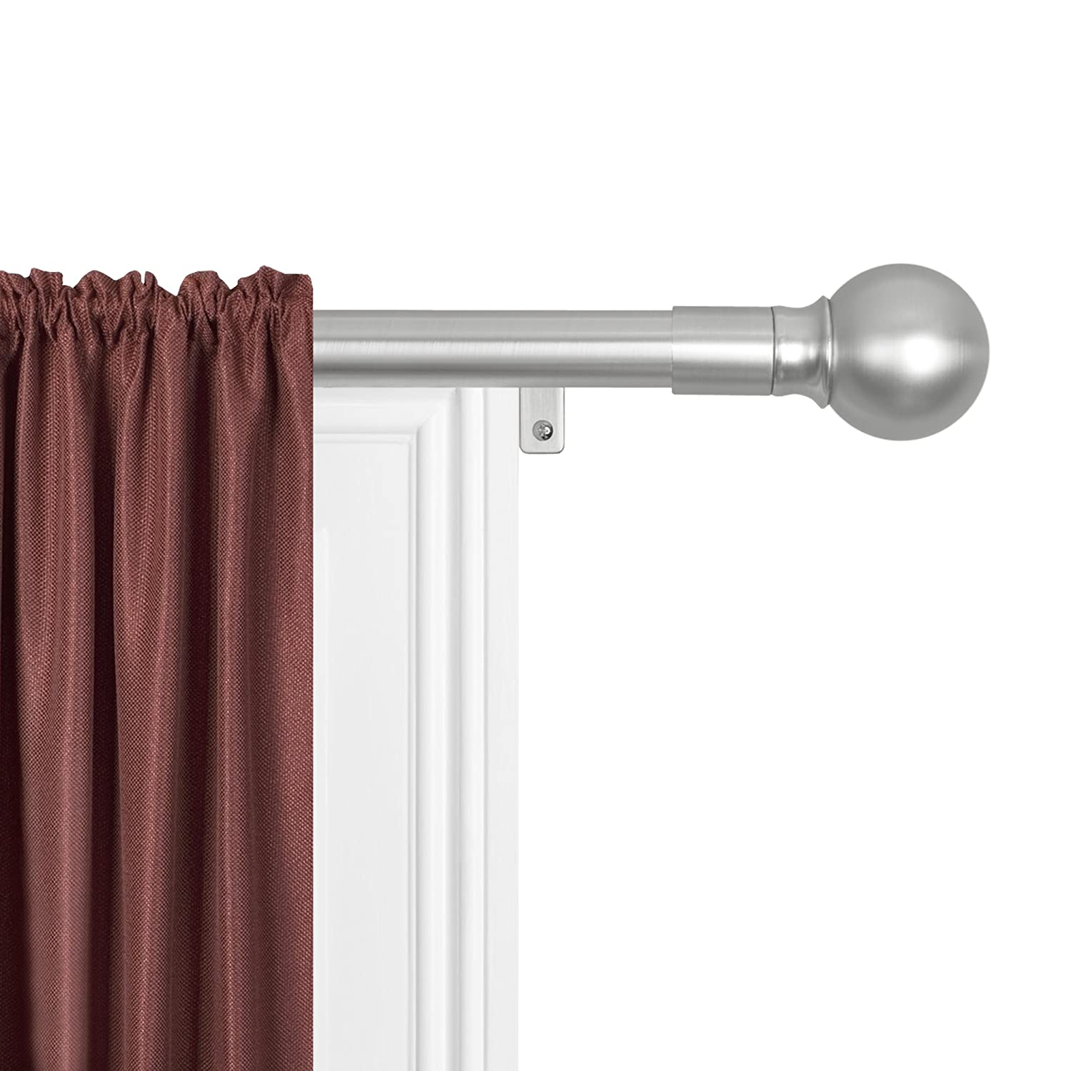 MAYTEX Smart Rods No Measuring Easy Install 1 Window Drapery Curtain Rod with Ball Finial, 18 inch - 48 inch, Antique Brass Maytex Mills Inc 6252