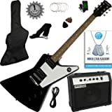 Stretton Payne XE Electric Guitar with practice amplifier, padded bag, strap, lead, plectrum, tuner, spare strings. Guitar in Black