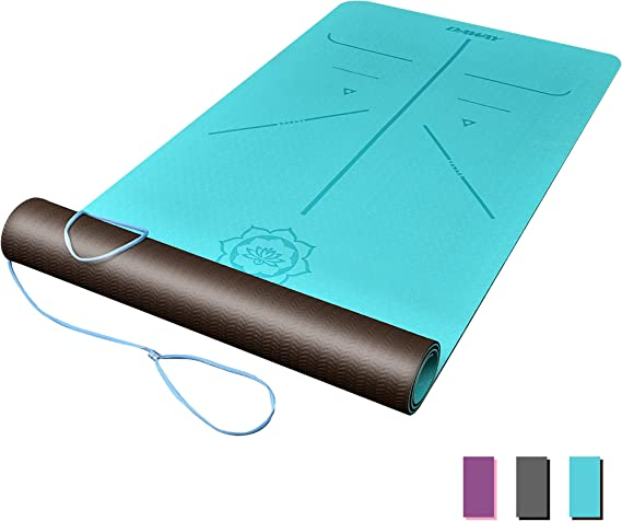 DAWAY Eco Friendly TPE Yoga Mat Y8 Wide Thick Workout Exercise Mat, Non Slip Hot Pilates Mats, Body Alignment System,Tear Resistant, with Carrying Strap, 72