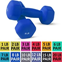 Neoprene Dumbbell Pairs by Day 1 Fitness - 12 Sizes (1, 2, 3, 4, 5, 6, 7, 8, 10, 12, 15, & 20 Lb Sets) - Non-Slip,...